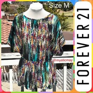 F21 Billowy Multicolor Scoop Neck Tunic Top Size M